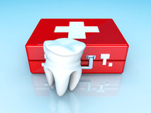 Tooth First aid. A tooth and a first aid case. 3D rendered illustration Royalty Free Stock Images