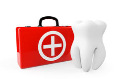 A Tooth and a First Aid Case Stock Images