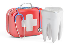 Tooth and First Aid Kit, dental first aid concept, 3D rendering. On white background Royalty Free Stock Images