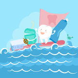 Tooth and floss on sea. Cartoon tooth and floss on the sea Royalty Free Stock Photos