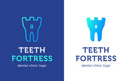 Tooth-fortress-logo copy. Health Dent Logo design vector template flat style on gradient background. Dental clinic Logotype concept icon. Health tooth in a form Royalty Free Stock Images
