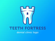 Tooth-fortress-logo copy. Health Dent Logo design vector template flat style on gradient background. Dental clinic Logotype concept icon. Health tooth in a form Royalty Free Stock Photos