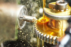 Tooth gear wheel machining Royalty Free Stock Image