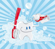 Tooth giving a shower. stock photography