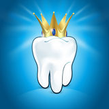 Tooth In Golden Crown, On Blue Background Stock Photography