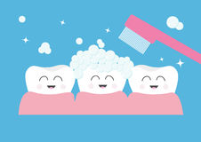 Tooth gum icon. Three cute funny cartoon smiling character set. Toothbrush with toothpaste bubble foam. Oral dental hygiene. Child Stock Photography