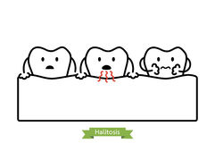 Tooth is halitosis, bad breath concept - cartoon vector outline style Royalty Free Stock Photos