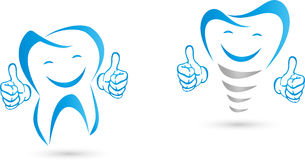 Tooth with hands, implant with hands, laughing. Dental implant, dental implant and hands, dental implant and smile Stock Photo