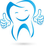 Tooth with hands and smile, tooth and dentist logo Royalty Free Stock Photos