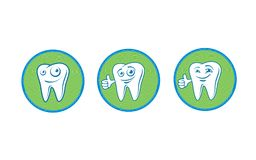 Tooth is a happy and cheerful character. The tooth character is cheerful kind and smiles, shows a thumbs-up. Logo. White Royalty Free Stock Image