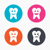 Tooth happy, sad and crying face icons. Circle buttons. Tooth happy, sad and crying faces icons. Dental care signs. Healthy or unhealthy teeth symbols. Seamless Royalty Free Stock Photos