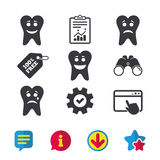 Tooth happy, sad and crying face icons. Royalty Free Stock Photography