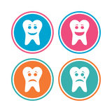 Tooth happy, sad and crying face icons. Stock Photos