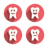 Tooth happy, sad and crying face icons. Tooth happy, sad and crying faces icons. Dental care signs. Healthy or unhealthy teeth symbols. Pink circles flat buttons Royalty Free Stock Photography