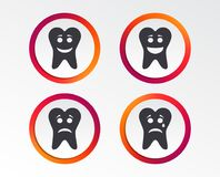 Tooth happy, sad and crying face icons. Tooth happy, sad and crying faces icons. Dental care signs. Healthy or unhealthy teeth symbols. Infographic design Royalty Free Stock Images