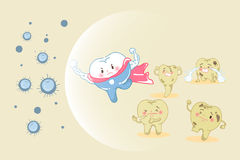 Tooth health concept. Cute cartoon super tooth fight with bacterium for your health design Royalty Free Stock Photos