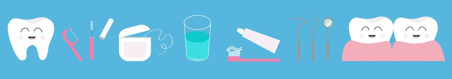 Tooth health icon set line. Toothpaste, toothbrush, dental tools instruments, thread, floss, mirror, brush, water. Children teeth stock illustration