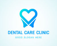 Tooth-heart-logo copy. Health Dent Logo design vector template flat style on gradient background. Dental clinic Logotype concept icon. Health tooth in a form of Royalty Free Stock Photos