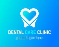 Tooth-heart-logo copy. Health Dent Logo design vector template flat style on gradient background. Dental clinic Logotype concept icon. Health tooth in a form of Stock Image