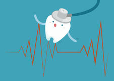 Tooth with heartbeat Royalty Free Stock Photo