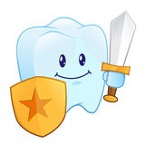 Tooth Holding A Shield And Sword Royalty Free Stock Photo