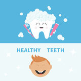 Tooth holding toothpaste and toothbrush. Smiling boy. Healthy teeth banner set. Flat design Blue white background. Royalty Free Stock Image