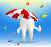 Tooth holding an umbrella. Vector tooth holding an umbrella Stock Image