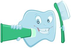 Tooth holds toothpaste and toothbrush. Vector cartoon illustration Royalty Free Stock Images