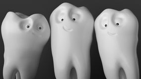 Tooth human cartoon. Family tooth at the photo shoot - 3D Rendering. Tooth human cartoon. Family tooth at the photo shoot -- 3d rendering Royalty Free Stock Images
