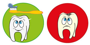Tooth hygiene. Illustration of two teeth: healthy white and happy on green label and one unhappy yellow and dirty on a red label. Cartoon style. Vector Royalty Free Stock Images