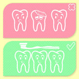 Tooth hygiene icon set Royalty Free Stock Image