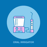 Tooth hygiene, oral irrigator. Dentist, orthodontics line icon. Health care Royalty Free Stock Photo