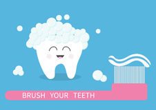 Tooth icon. Brush your teeth. Big toothbrush with toothpaste bubble foam. Cute funny cartoon smiling character. Oral dental hygien Stock Photo