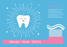 Tooth icon. Brush your teeth. Big toothbrush with toothpaste. Round line shining circle sparkle stars. Cute cartoon smiling charac Stock Photo