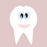 Tooth icon. Cute funny cartoon smiling character. Oral dental hygiene. Children teeth care. Tooth health. Baby background. Flat design. Vector illustration Royalty Free Stock Images