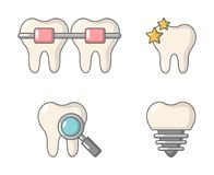 Tooth icon set, cartoon style royalty free illustration