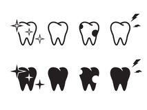 Tooth icons set. Black on a white background Stock Photo