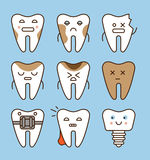 Tooth icons set, dental collection Stock Photography