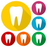 Tooth icons set with long shadow. Vector icon Royalty Free Stock Images