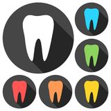 Tooth icons set with long shadow. Vector icon Stock Image