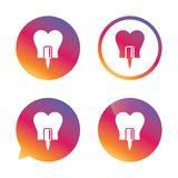 Tooth implant sign icon. Dental care symbol. Stock Images