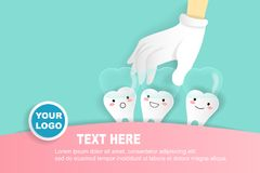 Tooth with invisible braces. Cute cartoon with invisible braces concept on green background Royalty Free Stock Images