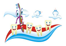 Tooth Kindergarten. Cartoon illustration from teeth care concept, funny calf's teeth and teacher placed on toothpaste Stock Images