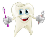 Tooth man holding paste and brush Stock Photos