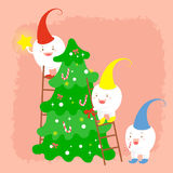 Tooth with merry christmas. Tree on the red background Royalty Free Stock Images