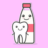 Tooth and milk are friends. Stock Image