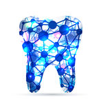 Tooth of molecules. Abstract Tooth of molecules, scientific design. Beautiful blue color vector illustration