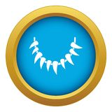 Tooth necklace icon blue vector isolated royalty free illustration