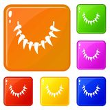 Tooth necklace icons set vector color stock illustration