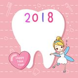 Tooth with new year. Cute cartoon tooth note with tooth fairy Stock Photos